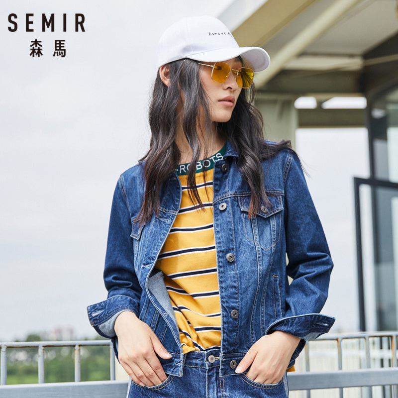 SEMIR Women 100% Cotton Short Denim Jacket with Collar Girl Boyfriend Denim Jacket with Chest Pocket and Slant Pocket Chic Style