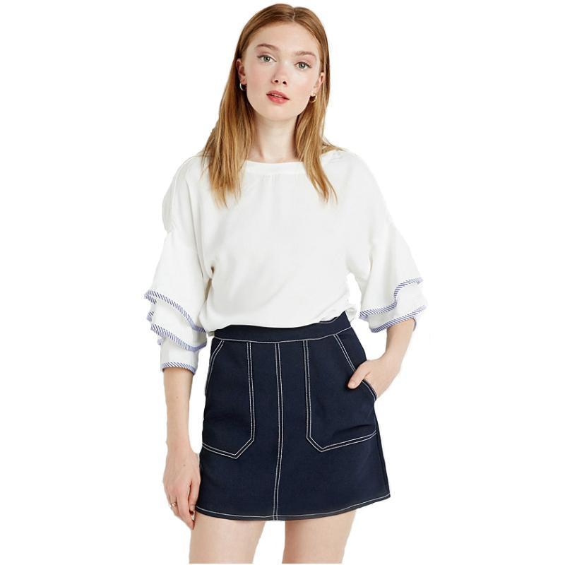 Preppy Style Double Pockets Female Skirt Sexy Sweet Chic Basic Bottom Navy Blue Casual Loose A-line Skirt-SKIRTS-SheSimplyShops