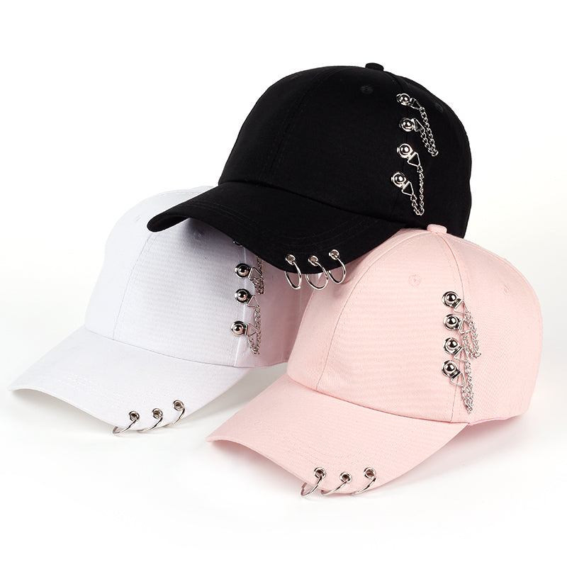 VORON 2017 new style hot selling iron ring zipper Hats adjustable Baseball cap unipue style unisex Hip hop snapback cap hats