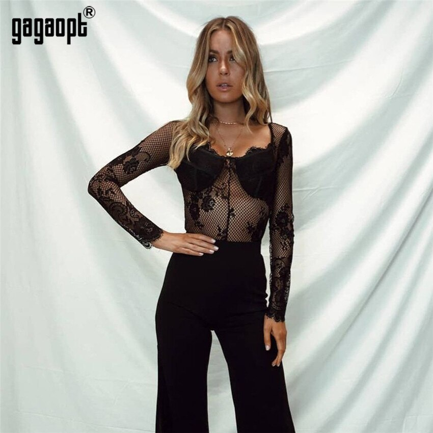 Gagaopt 2018 High Fashion Lace Bodysuit Women Floral Embroidery Sexy Bodysuit Long Sleeve Jumpsuit Overalls