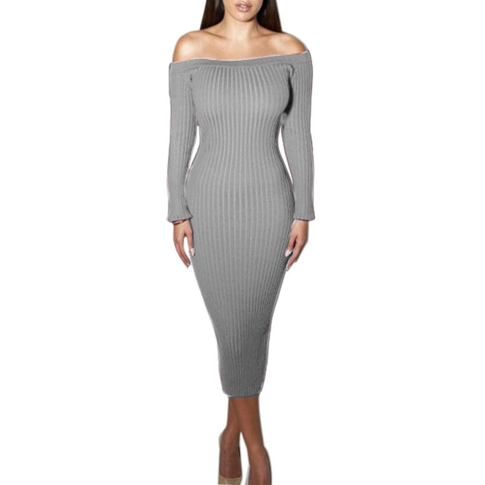 Fashion Long Sleeve Off Shoulder Neck Sexy Club Women Dress Slim Body con Knitted Sweater Knee-Length Party Night Dresses-Dress-SheSimplyShops