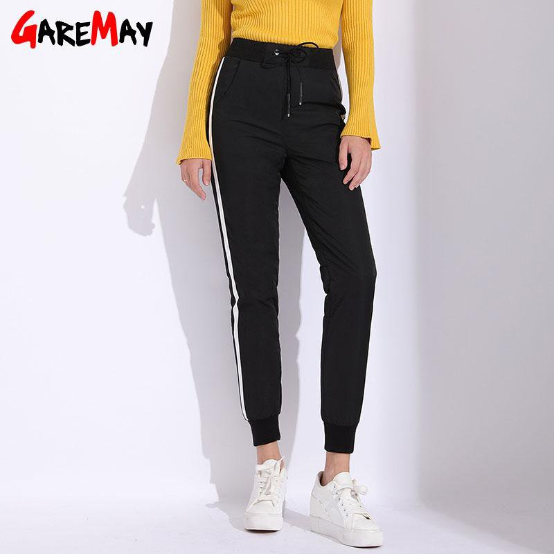 Warm Winter Harem Pants Women Striped Casual Work Black High Waist Duck Down Pants Loose Trousers Sweatpants Women-PANTS-SheSimplyShops