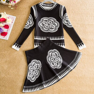 2018 New Women Retro Sweater+Skirts Sets Spring Autumn Winter Vintage Printed Female Woman Knitting Sweaters Tops+Skirt 2PCS Set