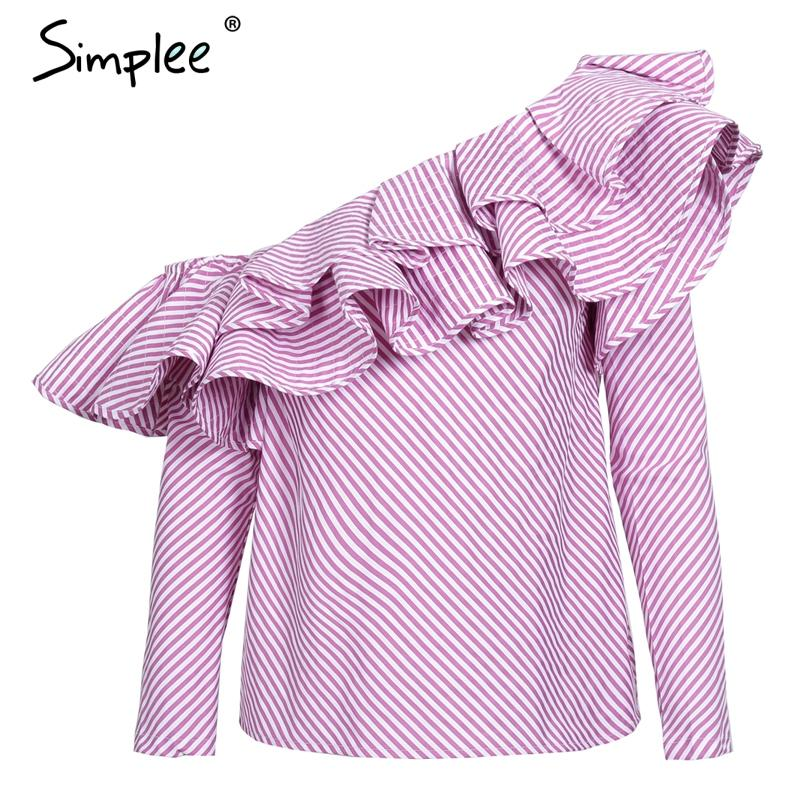 One shoulder ruffles blouse shirt women tops autumn Casual blue striped shirt Long sleeve cool blouse winter-Blouse-SheSimplyShops