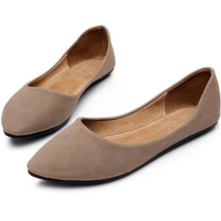 New Soft Leather like Comfort SLIP-ON Pointed Toe Women Flats Boat Shoes-SLIPS-SheSimplyShops