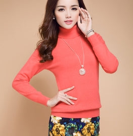 autumn winter cashmere sweater female pullover high collar turtleneck sweater women solid color lady basic sweater