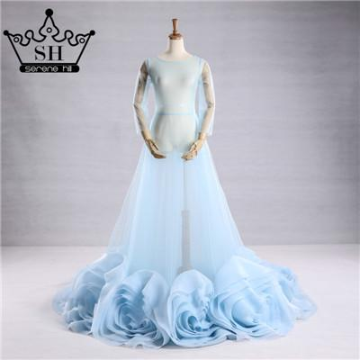 Sexy Evening Dress Blue See Through Long Sleeves Pregnant Photography Rose Flowers Evening Dress-Dress-SheSimplyShops
