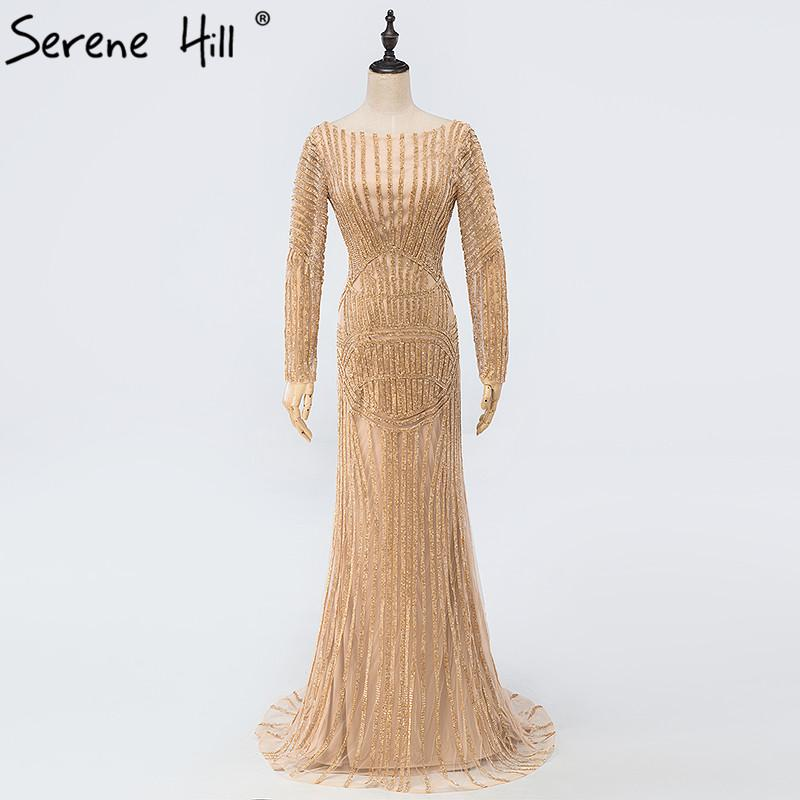 Sexy Backless Gold Nude Mermaid Diamond Evening Dress Gold Long Sleeves Luxury Gowns-Dress-SheSimplyShops