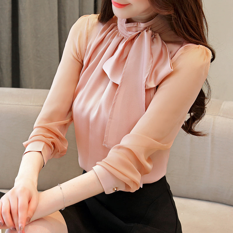 Autumn Womens Tops And Blouses Shirts Long Sleeve Bow Chiffon Winter Turtleneck Solid Women Clothing 0599 45