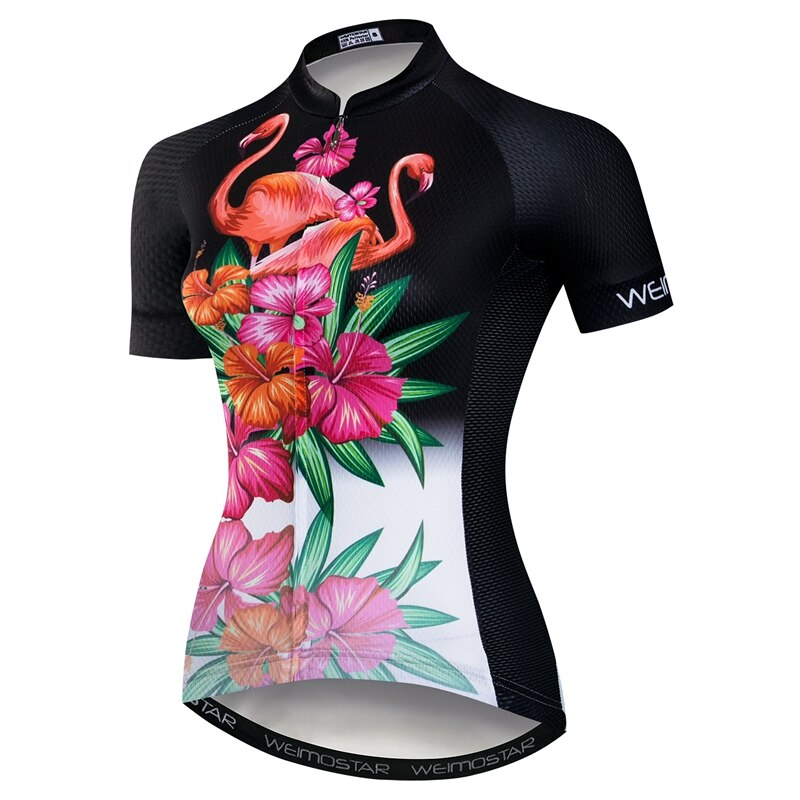 Weimostar Flower Bird Cycling Jersey Womens Short Sleeve Bicycle Jersey Maillot Ciclismo Mtb Riding Bike Cycling Clothing Top