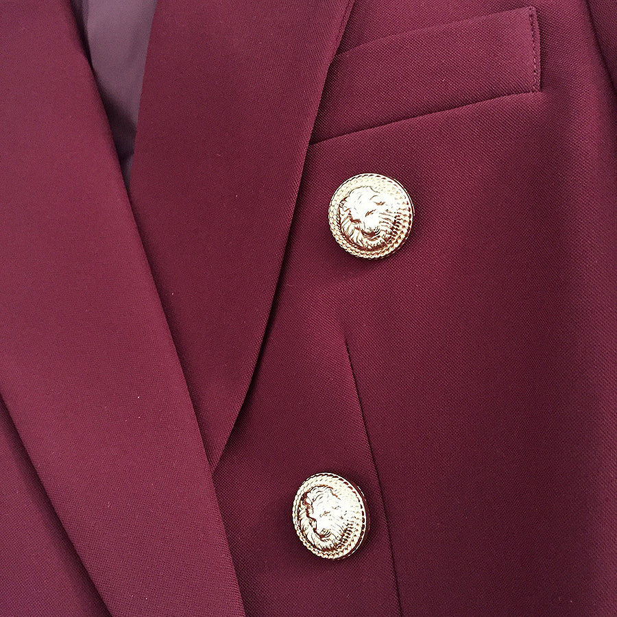 HIGH STREET New Fashion 2019 Designer Blazer Jacket Women's Metal Lion Buttons Double Breasted Blazer Outer Coat Wine red