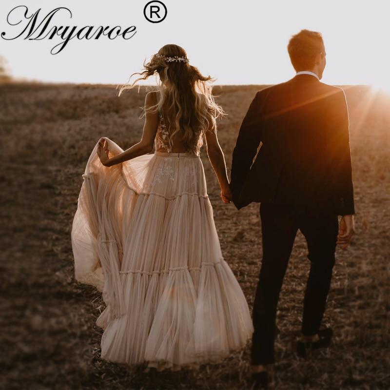 Mryarce Boho Hippie Wedding Dress 2019 Sleeveless V Neck Chic Styl Whimsical Ruched Skirt Tulle Bridal Gowns