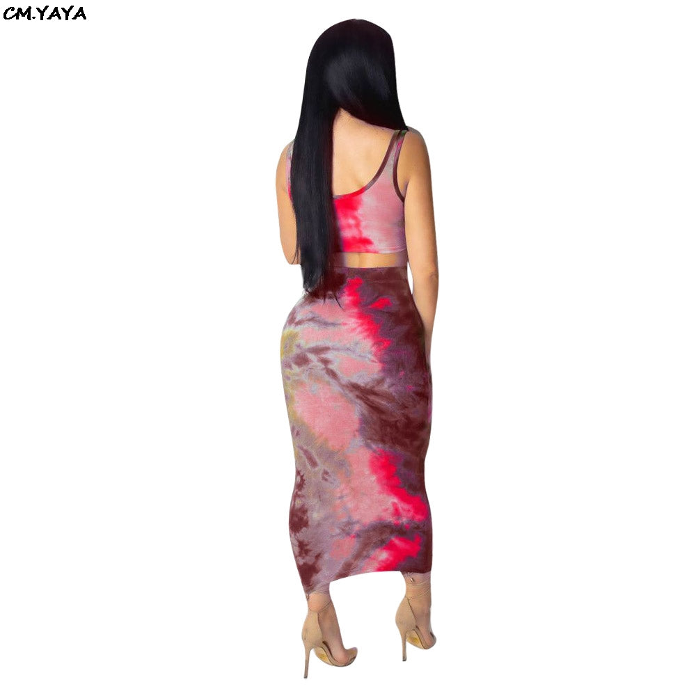 2019 new women sleeveless print vest tie up ankle length midi bodycon skirts suits two piece set tracksuit outfit 3 color S3515