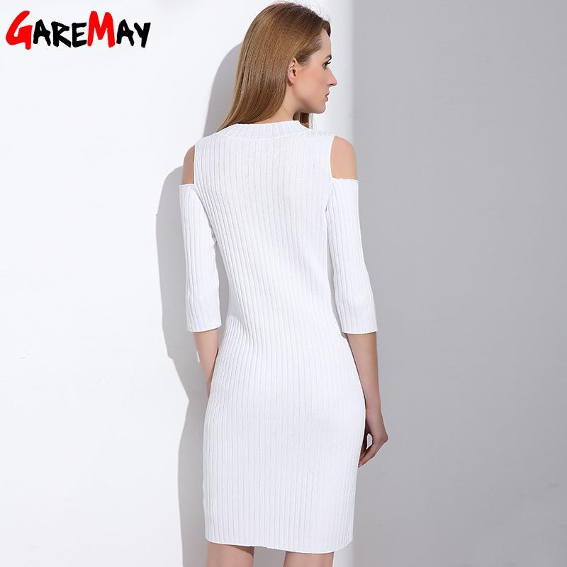 Women Knitting White Dress Sexy Tunic Sweater Office Dress Open Shoulder Skinny Robe Pencil Dress-Dress-SheSimplyShops