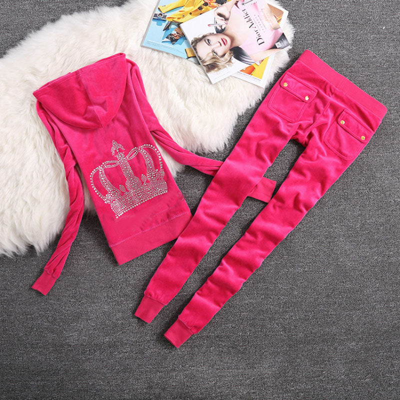 Brand Sweatsuit Velvet Fabric Tracksuits Velour Outfits Hoodies Tops and Sweat Pants Set S- XL