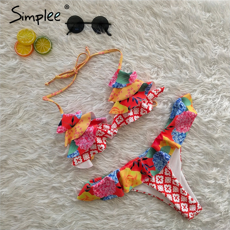 Simplee Ruffled floral print elegant woman bodysuit Bondage push up two-piece bra sets Summer halter beach female bathing suits
