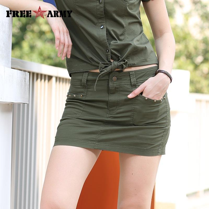 Summer Women Pencil Skirt Shorts Inside Fashion Military Army Green Sexy Skirts-SKIRTS-SheSimplyShops