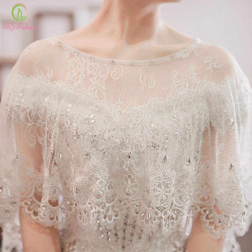 Wedding Shawl White Lace Shawl Luxury Beading Bridal Shawls Wedding Wrap Jacket Accessories-Coats & Jackets-SheSimplyShops