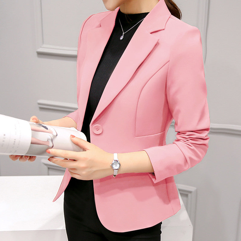 PEONFLY Ladies Blazers Single Button Blazer Women Suit Jacket bule/red Blaser Female Blazer Femme