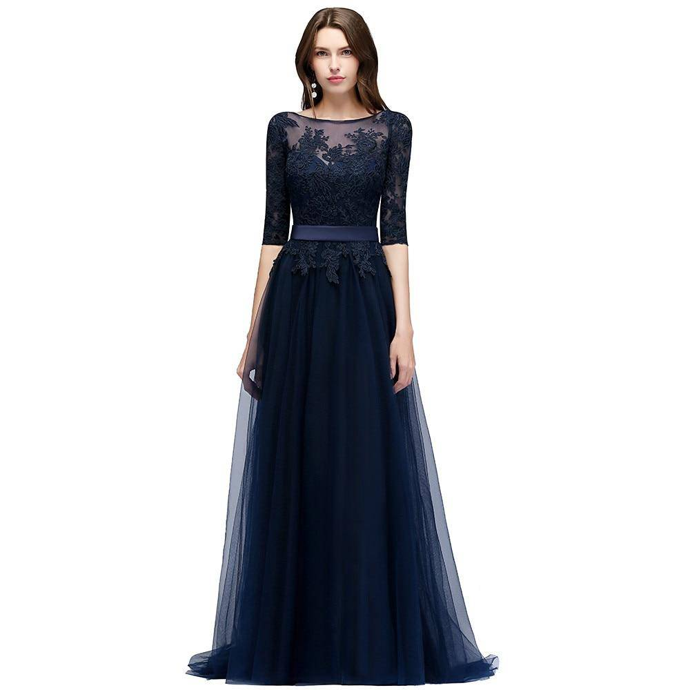 Navy Blue Lace Long Evening Dress Elegant Half Sleeve Tulle Evening Gowns with Sashes Robe