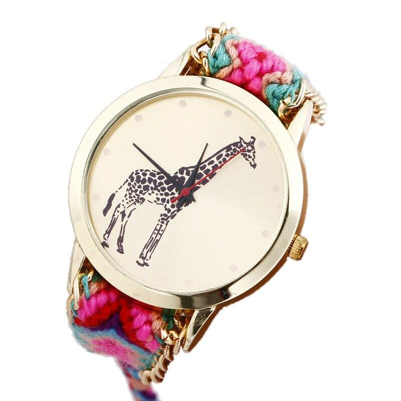 Women Weaved Rope Band Bracelet Watches Casual Giraffe Wrist Watches Relojes Mujer Relogio Feminino #D