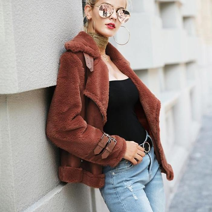 Faux leather suede lamb fur jacket coat women zipper suede jacket female overcoat Casual turn down winter coat-Coats & Jackets-SheSimplyShops