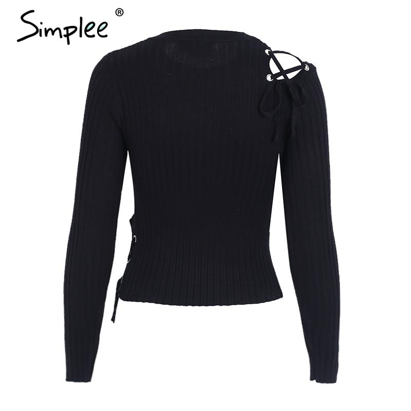 Sexy cold shoulder lace up knitting pullover Fashion black winter sweater women Casual elastic street wear jumper-SWEATERS + CARDIGANS-SheSimplyShops