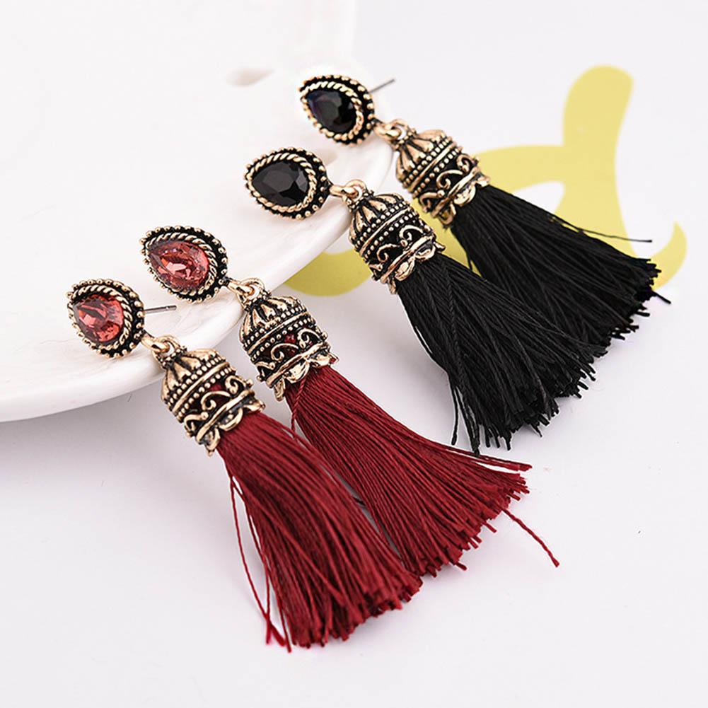 Antique Jewelry Round Crystal Silk Tassel Earrings For Women Wholesale Vintage Jewellery Accessories-Dress-SheSimplyShops