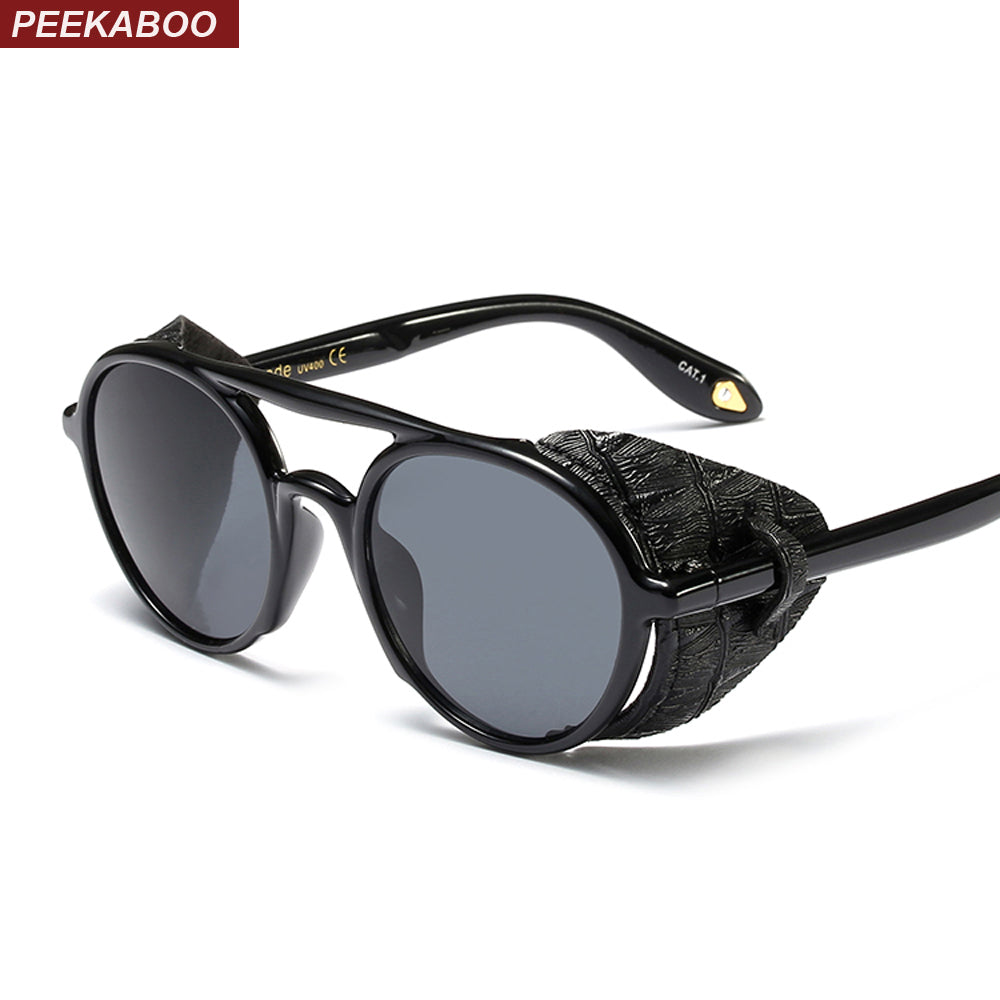 Peekaboo steampunk men sunglasses with side shields 2019 summer style leather round sun glasses for women retro uv400