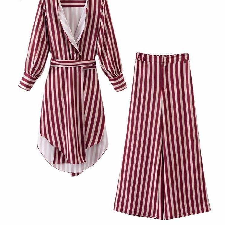 Asymmetry Split Striped Coat With High Waist Casual Wide Leg Pants-PANTS-SheSimplyShops
