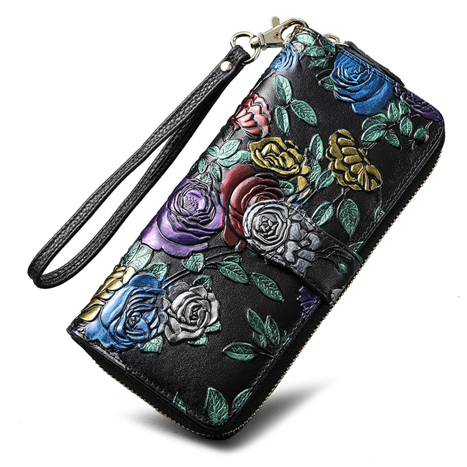 Rose Painting Genuine Leather Women Flower Wallet Long Hasp Female Clutch Brand Carteras Purse Wallet Women Phone Coin Bay Lady