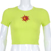 Darlingaga Fashion ribbed neon green summer t shirt short sleeve Sun embroidery crop tops t-shirts for women neon top tee casual