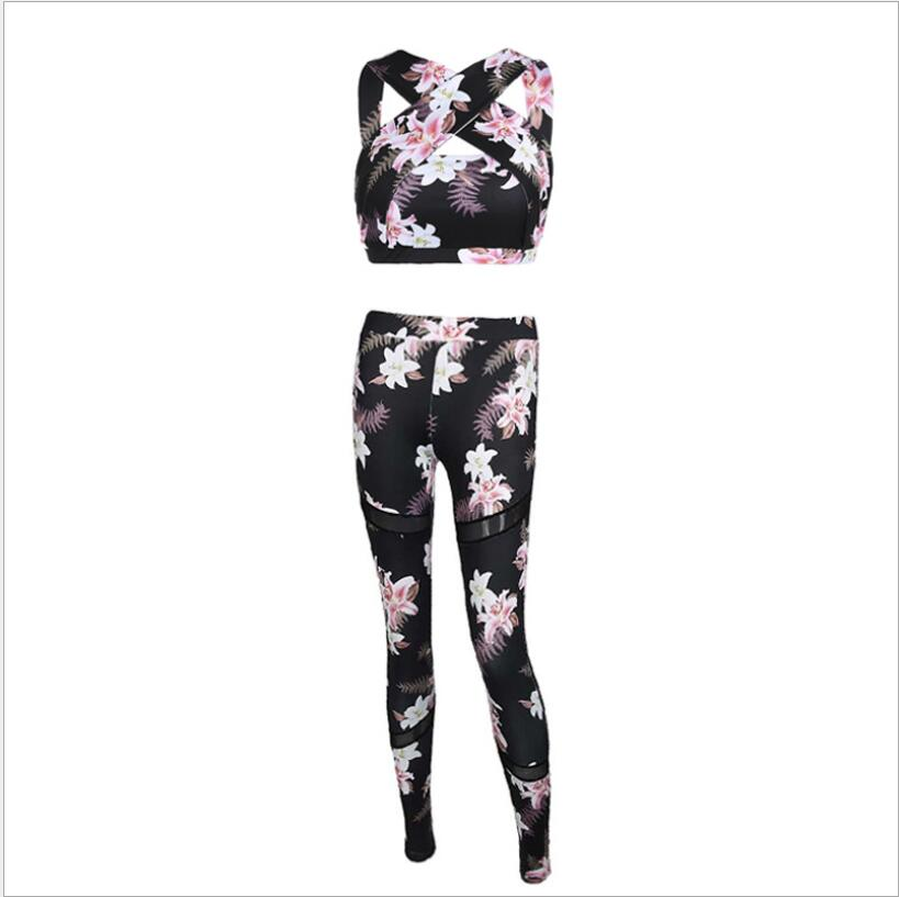 Asstseries Fashion Flower Print Women Sets Mesh Fitness Suit Sexy Backless Cross Strap Crop Top + Slim Pants Ladies 2 Piece Set