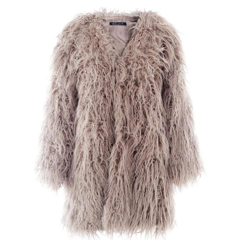 Fluffy long faux fur coat women Winter fur street wear pink coat female Fashion colored fur coats outerwear-Coats & Jackets-SheSimplyShops