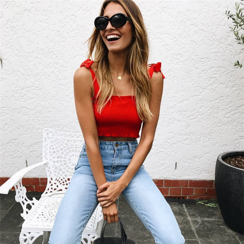 Summer Autumn Tube Crop top Women Bow Tie Strap Ruched tank Top Lettuce Edge Elastic Camis 5 colors