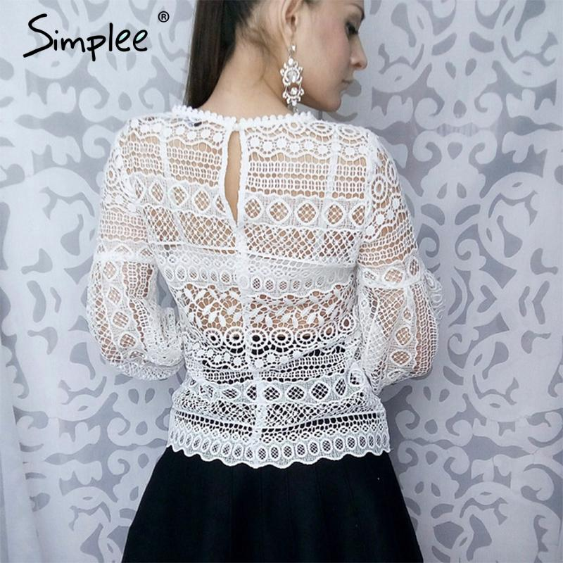 White lace blouse shirt top Casual hollow out lantern sleeve pink elegant geometry cool blouse-Blouse-SheSimplyShops