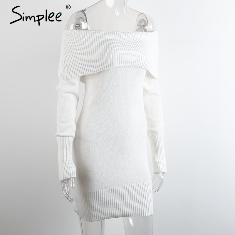 Winter off shoulder knitted body con dress Women long sleeve autumn sexy dress party short white dresses-Dress-SheSimplyShops