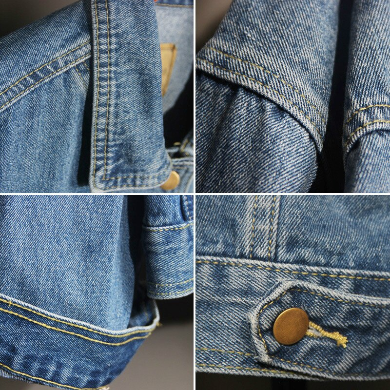 Vintage Women Jacket 2020 Autumn Winter Oversize Denim Jackets Washed Blue Jeans Coat Turn-down Collar Outwear Bomber Jacket