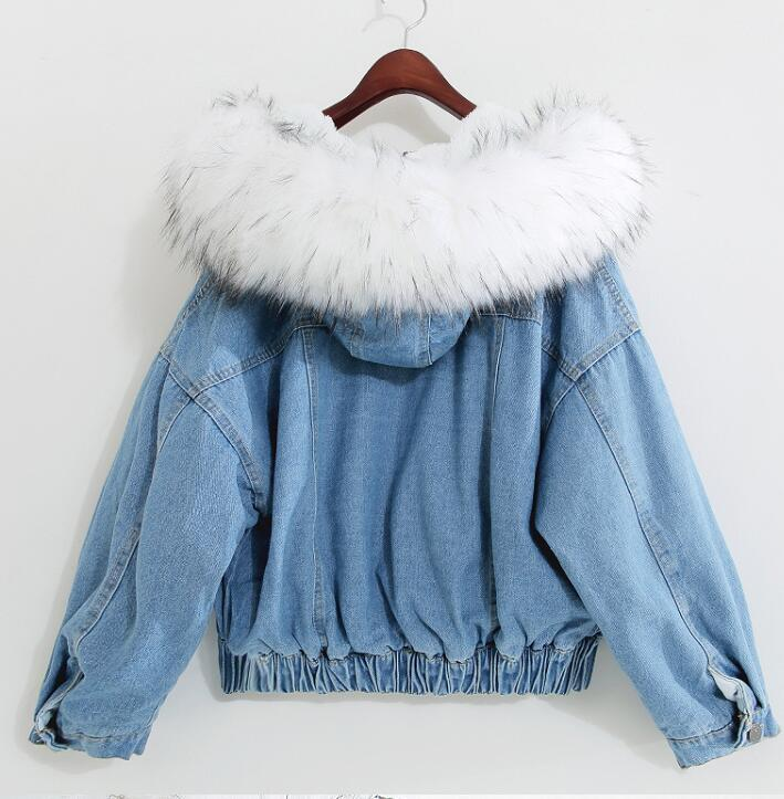 Big Faux Fur Collar Winter Jacket Women Oversized Batwing Sleeve Denim Jackets Wool Liner Jeans Coat Velvet Warm Jaqueta Hoodies