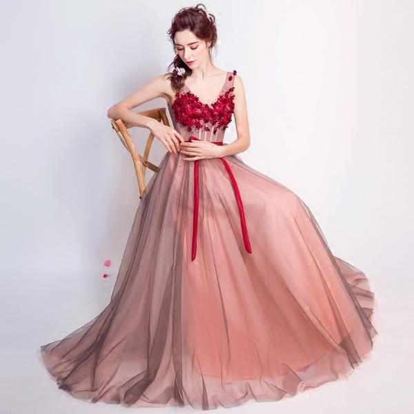 New Wine Red Lace Flower Evening Dresses The Bride Banquet Sexy V-neck Floor-length Backless Prom Party Gowns-Dress-SheSimplyShops