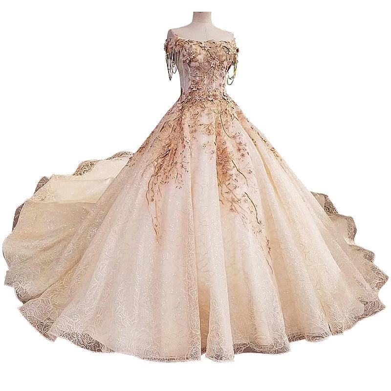 High-end Latest Wedding Gown Designs Flowers Pearls Luxury Sleeveless