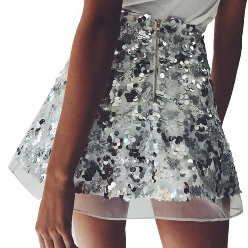 Fashion Women Sequins Skirts Gold & Sliver Color Skirt Vintage High Waist Mini A-line Short Bottoms-SKIRTS-SheSimplyShops