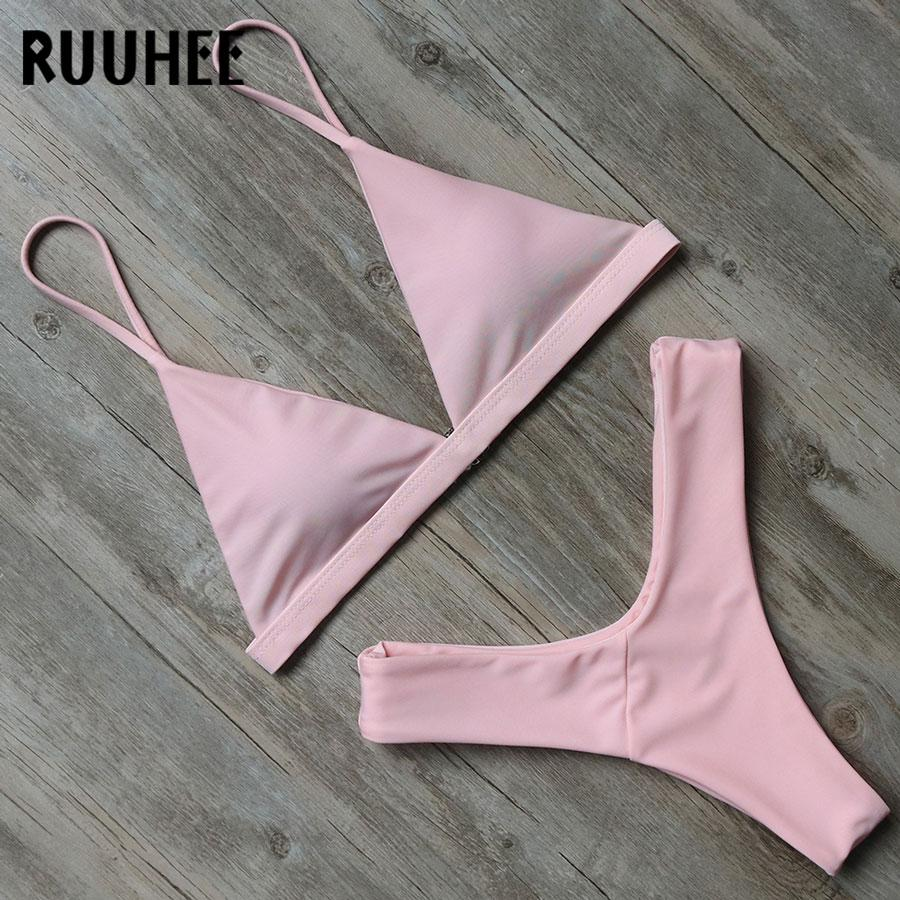 Solid Bikini Swimwear Women Swimsuit Bikini Set Push Up Bathing Suit High Cut Beachwear-Bottoms-SheSimplyShops