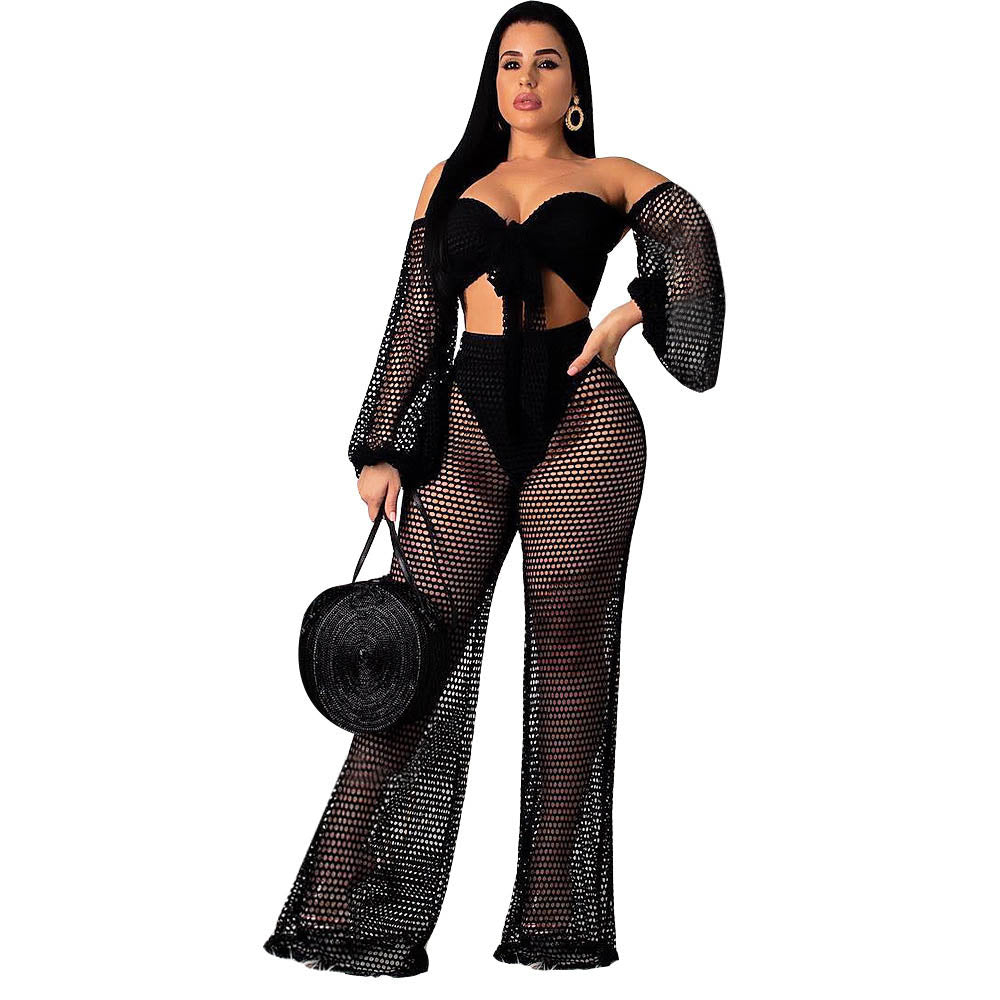 2 Piece Set Women Off Shoulder Wrapped Chest Lantern Sleeve Lace Up Hollow Out Wide Leg Pants Evening Party Clothes