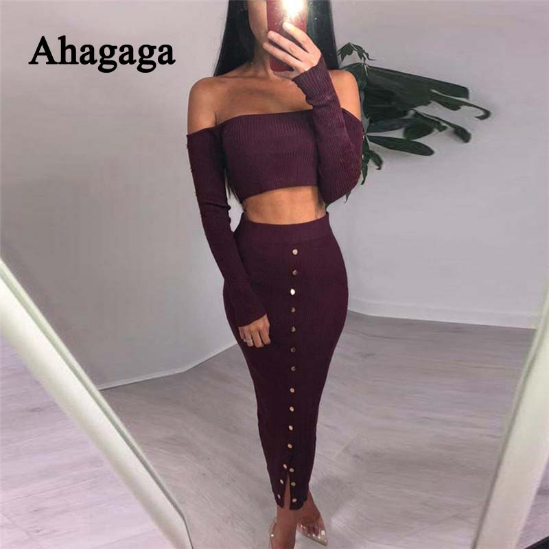 Ahagaga 2019 Spring Tracksutis Women Suits Fashion Botton Solid Elegant Women Costume 2-pieces (Tops+Skirts) Suit Set For Female