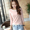 T Shirt Female Long sleeve Stripped Summer Women Clothes Women's Clothing Casual T-Shirts Top Cotton Tee Plus Size