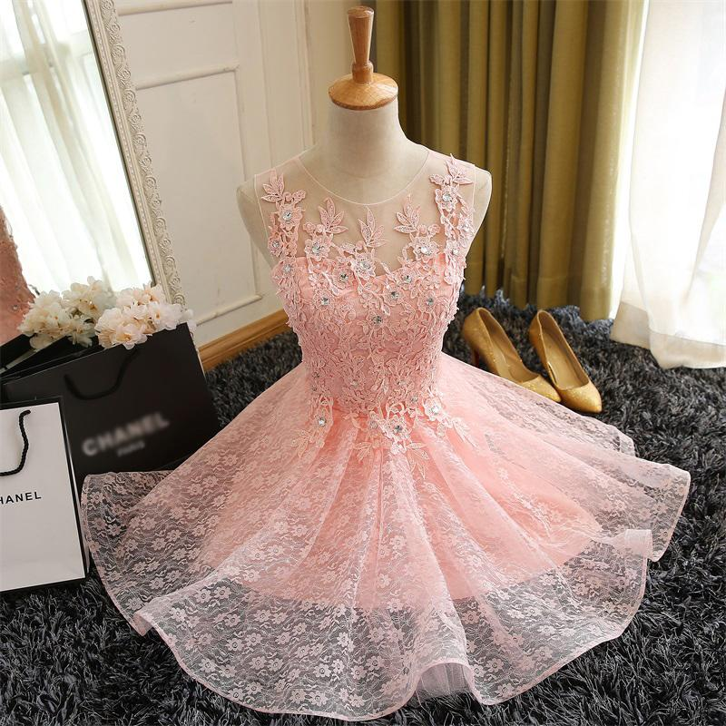 Sweet Champagne Lace Flower Sleeveless Short Cocktail Dress Bridal Banquet Party Gown Homecoming Dress-Dress-SheSimplyShops