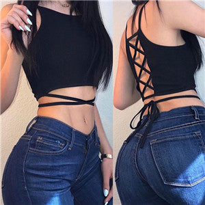 Summer party tops Backless Hollow Out Fitness Sleeveless Short Crop Tops Camisoles streetwear black lace up Crop Tops