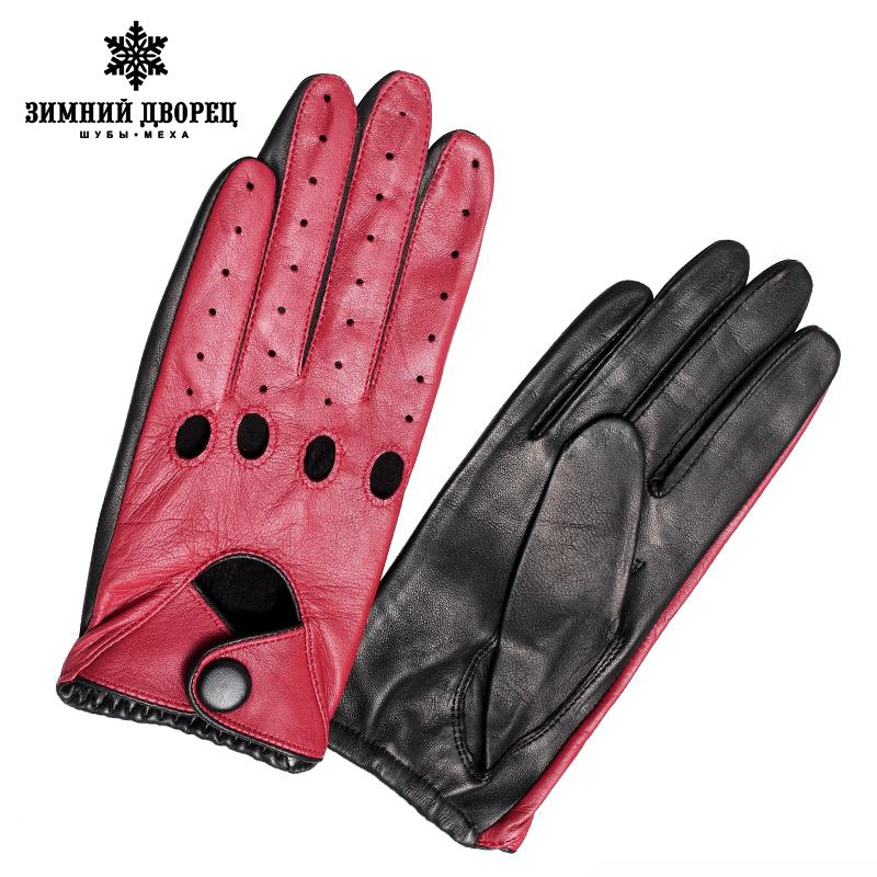 Fashion leather gloves Punk style gloves female driving gloves Red stitching hollow design-GLOVES-SheSimplyShops