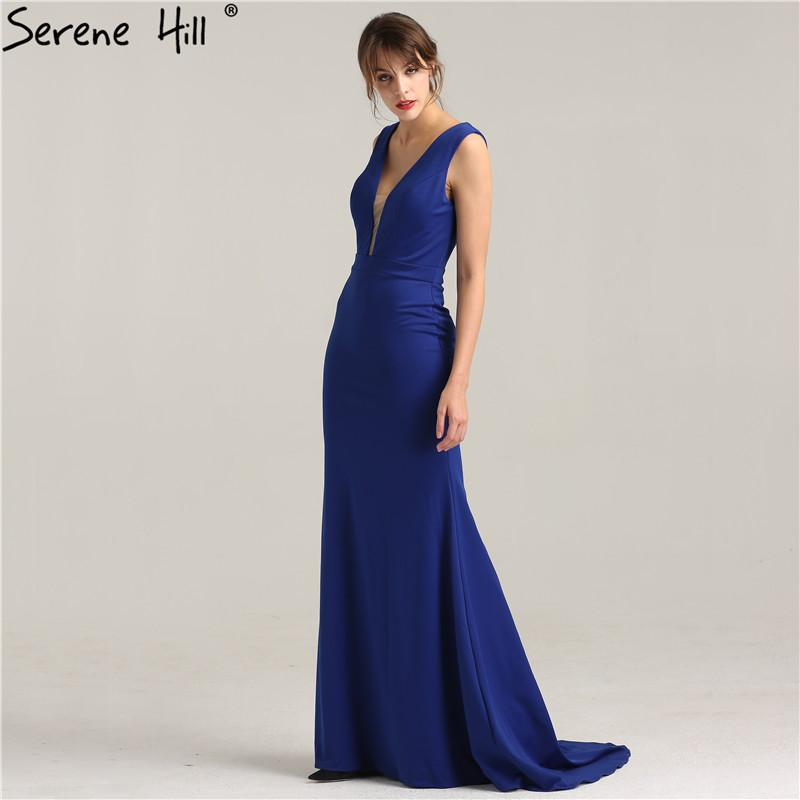 New Blue Satin Sexy Mermaid Prom Dresses Long Deep-V Fashion Elegant-Dress-SheSimplyShops